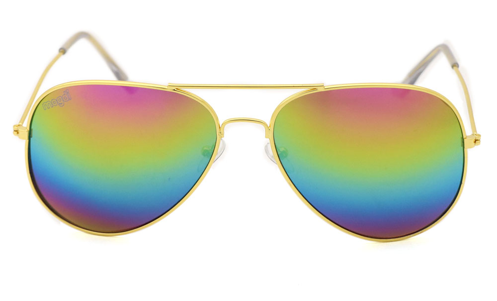 Sonnenbrille Regenbogen Gold Transparent