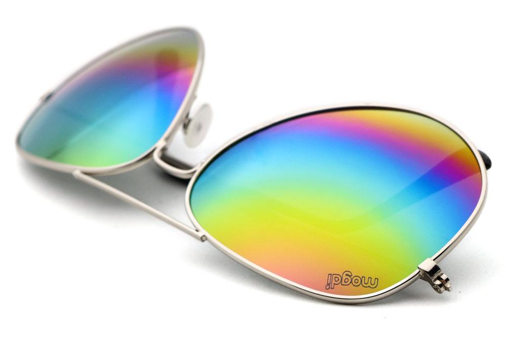 Sonnenbrille Regenbogen Silber Schwarz