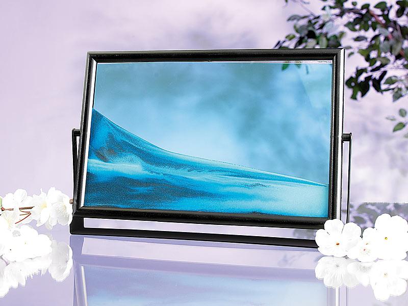 EDEL Sandbild blauer Ocean Ozean blau blaues Meer Bild Bilderrahmen Sand Wasser