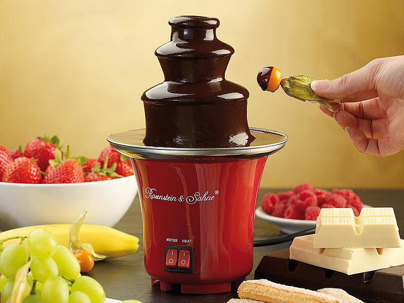 LUXUS Mini Schokoladen Brunnen Schokobrunnen Schokoturm Käse Soße ROT Fontaine