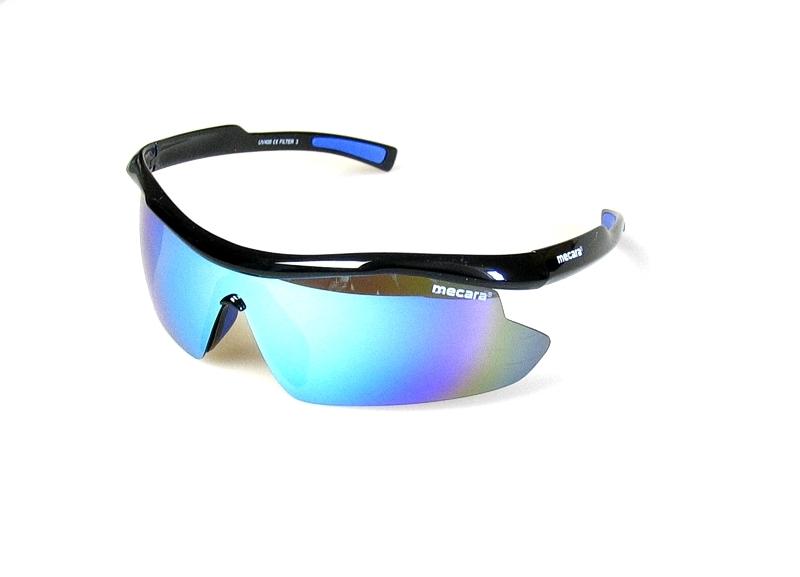 PROFI Sonnenbrille SCHWARZ BLAU Sport Brille UV400 Ski Rutschpads verspiegelt