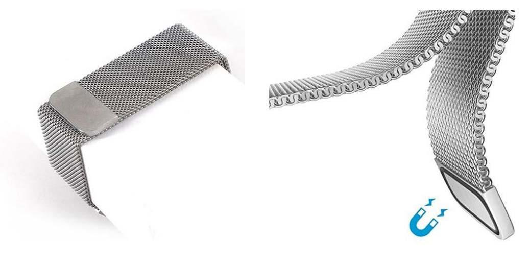 MAGNET DAMEN Uhrenarmband Armbanduhr Armband Magnetband Silber Magnetverschluss