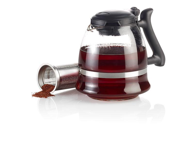 PREMIUM XXL Kanne für Tee Glaskanne Teekanne aus Glas mit Siebeinsatz Sieb 1,5 L
