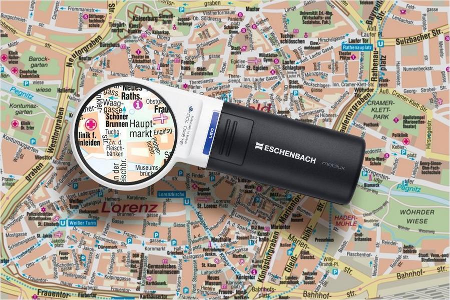 PROFI Handlupe Leselupe ESCHENBACH Mobilux LED Lesen Lupe mit Licht Taschenlupe