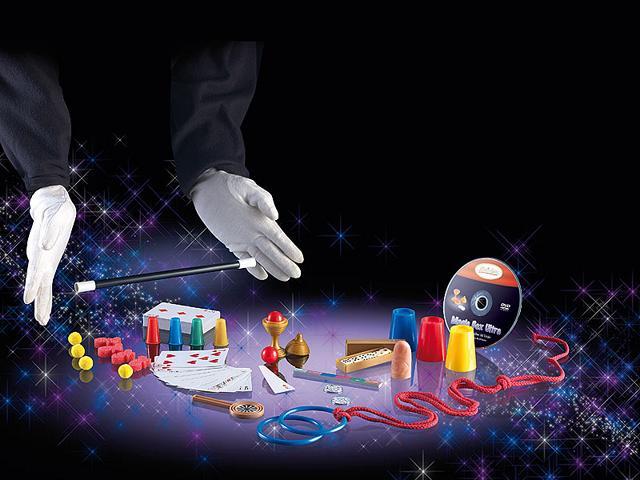 Zauberer Ausrüstung SET Zauberkasten 75 ZauberTricks Zauberstab Karten Seil Ring